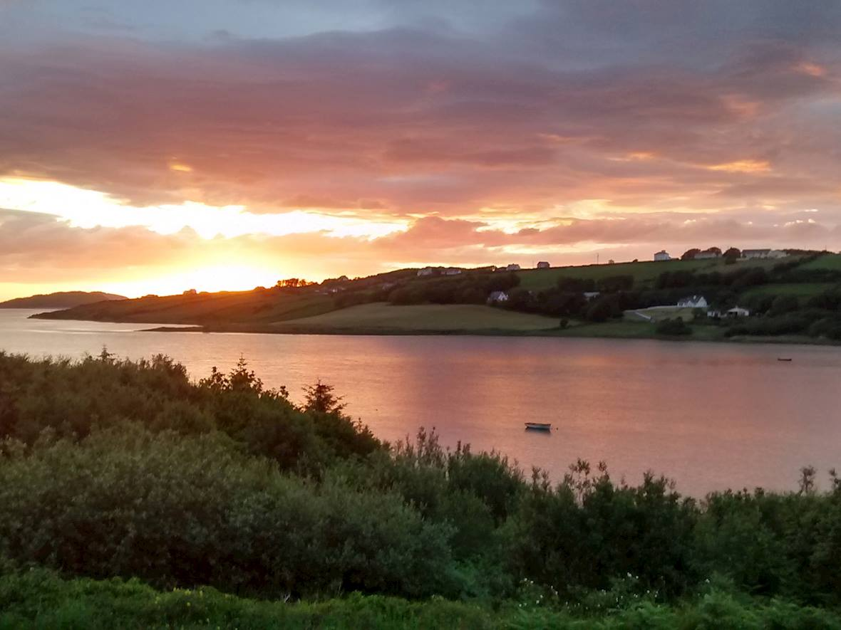 Sunset across Gweebarra Bay from the front of the property